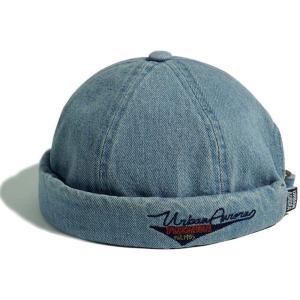 フィッシャーマンキャップ デニム メンズ ロールキャップ  つば無し帽子 デニムキャップ 小顔効果 ...