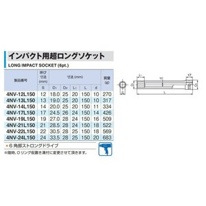 トネ(TONE) インパクト用超ロングソケット HP4NV-22L150 差込角12.7mm(1/2%ダブルクォーテ%) 二面幅22mm|itsudemokaden