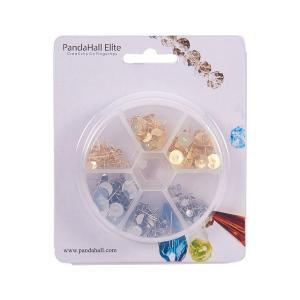 PandaHall Elite 約300個セット 304 ステンレス ピアス パーツ 3サイズ 2色 イヤリング 丸皿 ピアス ポストピアス itsudemokaden