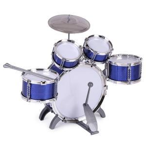ammoon 10点セット キッズドラム ドラムセット 3色選択 楽器 玩具 1バスドラム/4ドラム/1小シンバル/2ドラムスティック/フッ|itsudemokaden