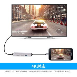 6in1 USB Type C ハブ 4K HDMI出力 PD充電対応 USB3.0 USB2.0ポ...
