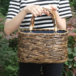 (イウハ) IUHA 和風バッグ 巾着  まだら竹 レディース 浴衣 リゾート 自然素材 夏  軽量 花火大会 iuhacom