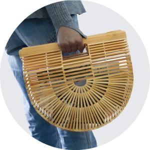 (イウハ) IUHA 扇形ハンドバッグ(大) 自然派 軽量 かごバッグ 竹かご 竹細工 お財布 小物収納 iuhacom