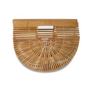 (イウハ) IUHA 扇形ハンドバッグ(小) 竹製 自然派 軽量 かごバッグ 竹かご 夏バッグ お財布 小物収納 iuhacom