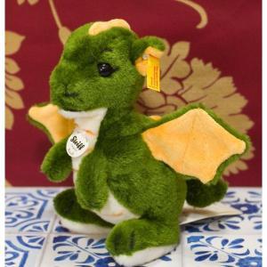 シュタイフ社ぬいぐるみ  ■かわいらしいドラゴンの子供のぬいぐるみです グリーンの発色がとても鮮やか...