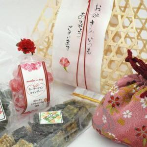母の日ギフト「ちりめん巾着入り」竹籠セット【送料無料】 iwaiseika
