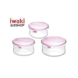 iwaki イワキ パック&レンジ3点セット ピンク 耐熱ガラス 保存容器 保存 レンジ レンジ調理 作り置き 清潔 下ごしらえ 丸型 軽い 入れ子|iwaki-kitchenshop-y