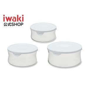 iwaki イワキ パック&レンジ 丸型 3個 セット ホワイト 白 耐熱ガラス 保存容器 保存 作り置き レンジ レンジ調理 軽い 下ごしらえ 入れ子|iwaki-kitchenshop-y
