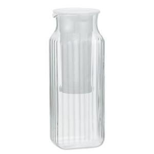 iwaki(イワキ) 茶漉し付角型サーバー(ホワイト) 耐熱ガラス 麦茶 ポット ガラス 冷蔵庫|iwaki-kitchenshop-y