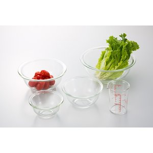 iwaki(イワキ) 耐熱ガラスボウル4点&メジャーカップセット 料理 パーティー ケーキ オーブン 皿 焼き レンジ 耐熱 ガラス 耐熱ガラス|iwaki-kitchenshop-y
