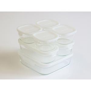 iwaki 保存容器 ホワイト 7点 セット 少し透け感のある白です パック&レンジ  イワキ 冷凍 レンジ オーブン|iwaki-kitchenshop-y