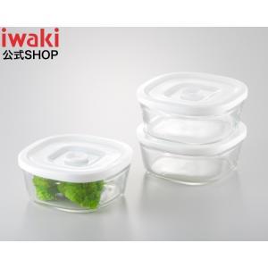 NEW 簡単密閉! iwaki(イワキ) 密閉パック&レンジ 角型 同サイズ 3点セット 耐熱ガラス ガラス 保存 おしゃれ 常備菜 つくおき 作り置き もちより 白 ホワイト|iwaki-kitchenshop-y