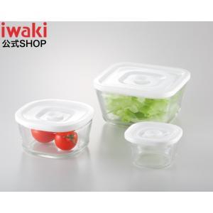 NEW 簡単密閉! iwaki(イワキ) 密閉パック&レンジ 角型3点(サイズ違い)セット 耐熱ガラス ガラス 保存 おしゃれ 常備菜 つくおき 作り置き もちより 白|iwaki-kitchenshop-y