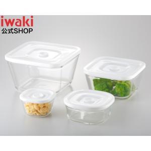 NEW 簡単密閉! iwaki(イワキ) 密閉パック&レンジ 角型4点 セット 耐熱ガラス ガラス 保存 おしゃれ 常備菜 つくおき 作り置き もちより 白 ホワイト 入れ子|iwaki-kitchenshop-y