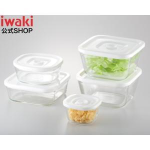 NEW 簡単密閉 iwaki イワキ  密閉パック&レンジ 角型 5点 セット 耐熱ガラス ガラス 保存 おしゃれ 常備菜 つくおき 作り置き もちより 白 ホワイト 入れ子|iwaki-kitchenshop-y