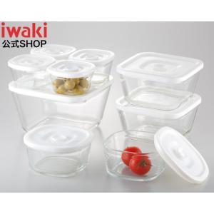 NEW簡単密閉! iwaki(イワキ) 密閉パック&レンジ 角型 9点セット 耐熱ガラスガラス保存おしゃれ常備菜つくおき作り置き もちより白ホワイト入れ子|iwaki-kitchenshop-y