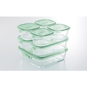 iwaki 保存容器 7点セット グリーン 耐熱ガラス 作り置き 公式 レンジ レンジ オーブン レンジ調理 耐熱ガラス システムセット パック&レンジ|iwaki-kitchenshop-y