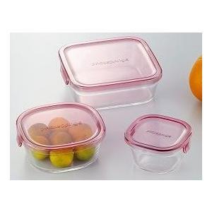 iwaki(イワキ) パック&レンジ 角型3点セット(ピンク) 耐熱ガラス ガラス 保存容器 保存 |iwaki-kitchenshop-y