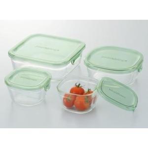 iwaki イワキ 保存容器 角型4点セット グリーン  耐熱ガラス パック&レンジ |iwaki-kitchenshop-y