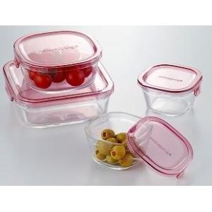 iwaki 保存容器 角型4点セット ピンク  耐熱ガラス パック&レンジ |iwaki-kitchenshop-y