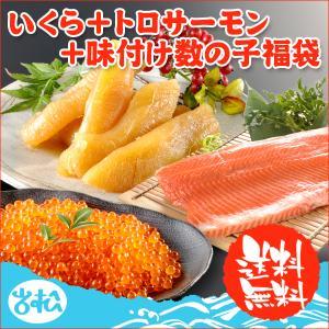 いくら 醤油漬け アラスカ 200g 塩 数の子 300g トロサーモン 1kg 送料無料 福袋 ギフト|iwamatsu-salmon