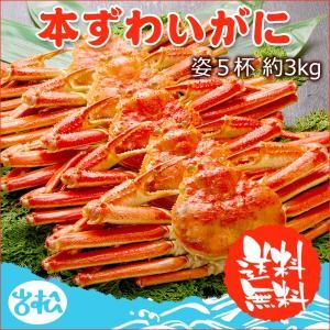本 ズワイガニ 姿 5杯 約3kg 特大 ボイル ずわいがに ずわい蟹 ズワイ蟹 送料無料 ギフト あすつく 早割|iwamatsu-salmon