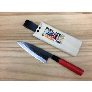玉日本 ブロッコリー用 収穫包丁3 両刃 150mm 赤柄 + 磁石付木さや (セット販売)|iwauchi-kanamonoten