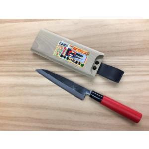 玉日本 ブロッコリー用 収穫包丁2 両刃 150mm 青二鋼 赤柄 + 磁石付木さや (セット販売)|iwauchi-kanamonoten