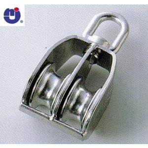 ひめじや ステンレス 豆ブロック 2車 S315 車径50mm ロープ径14mmまで MB-50-2 (1個)の画像