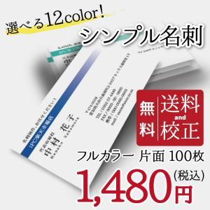 名刺印刷 100枚 名刺簡単作成【選べる12色】校正無料 ゆうパケット送料無料 b007