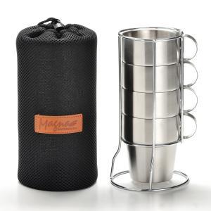 ■商品詳細  無駄な飾りのない二重構造ダブルウォールのオールステンレスシンプルマグカップ4個セット ...