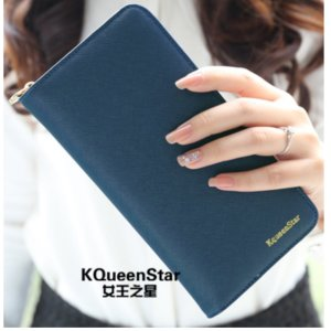 KQueenStar かわいい バイカラー ウォレット 長財布 レディース たくさんカードが入る 大...