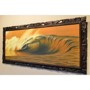 心を癒すヒーリング・アート  ハイクオリティー 特大パノラマサイズ (バリの波を描いたらNO,1!画...