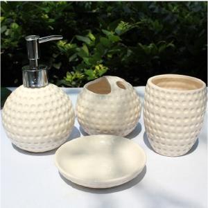ゴルフボール型バスルームセット(白) ソープディスペンサー・バブラシ立て・コップ・ソープディッシュ|izumigolf