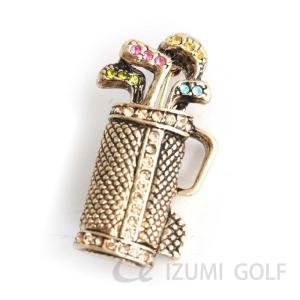 ゴルフ ブローチ ゴルフバッグ型 キャディバッグ ゴールド アクセサリー カラフルラインストーン|izumigolf