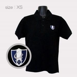 ゴルフウエア 綿100% 厚手 半袖ポロシャツ 刺繍ワッペン【ネイビー】 シャツカラー:ホワイト・ブラック サイズ:XS〜XXL メンズ・レディース|izumigolf