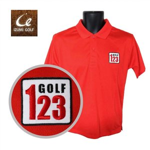 ライトドライポロシャツ 半袖 吸汗&速乾 123GOLF  刺繍ワッペン レッド サイズM・L ゴルフ ラウンド|izumigolf