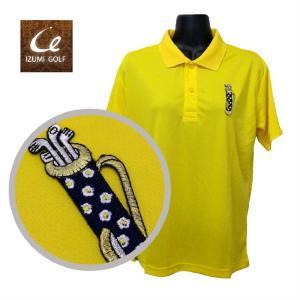 ライトドライポロシャツ 半袖 吸汗&速乾  フラワーゴルフバッグ 刺繍ワッペン イエロー サイズM ゴルフ ラウンド|izumigolf