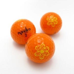 ゴルフボール 3個セット ネオンカラー オレンジ デイジー柄 Soft N2  navikaナビカ|izumigolf