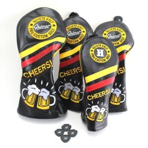 ゴルフ GUIOTE ヘッドカバー 4点セット ビール beer ブラック #1・#3・#5・H ドライバー・フェアウェイウッド・ユーティリティー|izumigolf