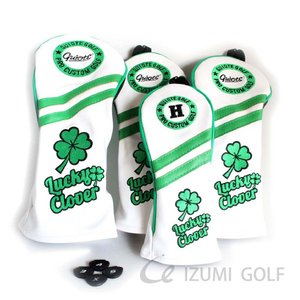 ゴルフ GUIOTE ヘッドカバー 4点セット クローバー ホワイト #1・#3・#5・H ドライバー・フェアウェイウッド・ユーティリティー|izumigolf