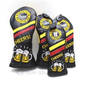 ゴルフ GUIOTE ヘッドカバー4点セット ダイヤル式ナンバータグ ビール ブラック 刺繍 ドライバー・フェアウェイウッドx2・ユーティリティー izumigolf