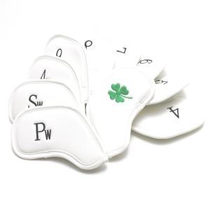 ゴルフ アイアン ヘッドカバー クローバー刺繍 ホワイト 番手入り10点セット PUレザー|izumigolf