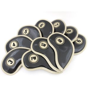 エナメル アイアン ヘッドカバー 3〜Pw 刺繍番手入り10点セット PUレザー ブラックxゴールド