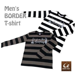 ワイドボーダー ゴルフロゴ Tシャツ 長袖 メンズS/M/L ブラックxチャコール ・ ブラックxホワイト|izumigolf