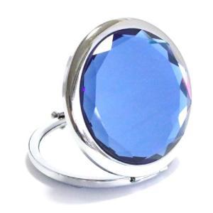 コンパクトミラー ブルー Blue ジュエリーミラー 手鏡|izumigolf