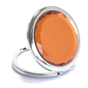 コンパクトミラー オレンジ Orange ジュエリーミラー 手鏡|izumigolf