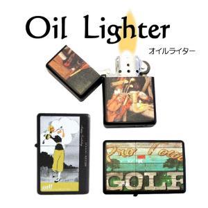 ライター オイルライター 喫煙具 ゴルフ柄 Golf lighter 全6種類 ギフト 艶消しマットブラック|izumigolf