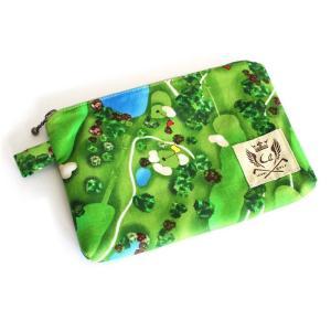 ファスナーポーチ / マルチポーチ ゴルフ柄 日本製 カラー:グリーン(ゴルフコース)|izumigolf