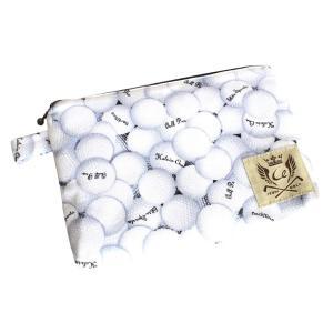 ファスナーポーチ / マルチポーチ ゴルフ柄 日本製 カラー:ホワイト(ゴルフボール)|izumigolf